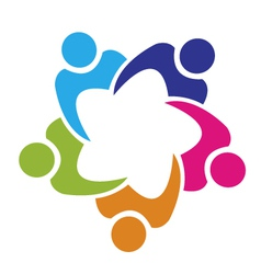 Teamwork union 4 people logo vector image