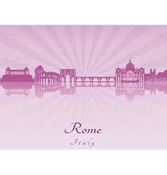 Rome skyline in purple radiant orchid vector