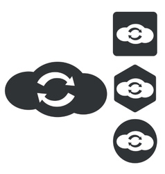 Cloud refresh icon set monochrome vector