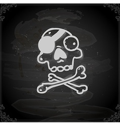 Hand drawn pirate skull and bones vector