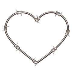 Heart shape of barbed wire vector