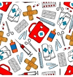 Medicines and medical supplies seamless pattern vector