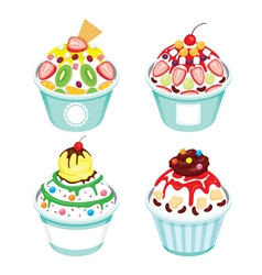Shave ice with different topping set vector