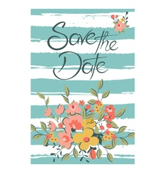 Save the date with flowers and stripes vector
