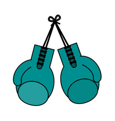Color image set boxing gloves sport element vector