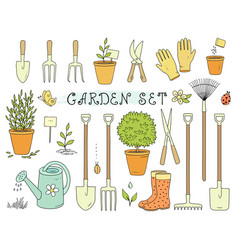 colorful set of garden equipment vector image vector image