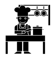 cooker - shef - kitchen restaurant icon vector image