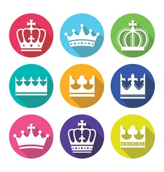 Crown royal family flat design icons set vector