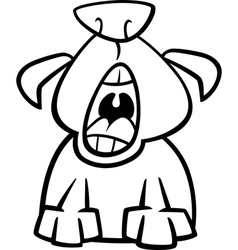 Dog yawn cartoon coloring page vector
