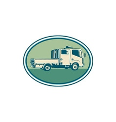 Double Cab Pick-up Truck Oval Woodcut vector image vector image