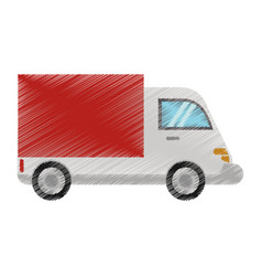 Drawing truck delivery transport image vector