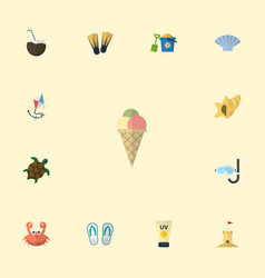Flat icons shell sorbet conch and other vector
