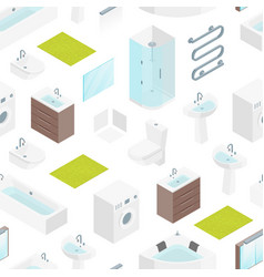 Furniture bathroom interior seamless pattern vector