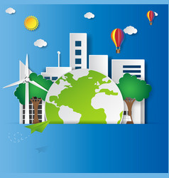 green city with ecoligical concept vector image