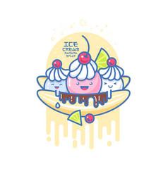 Kawaii smiled ice cream banana split vector