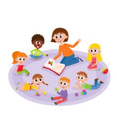 Kindergarten kids and teacher reading a book vector