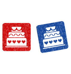 marriage cake grunge textured icon vector image vector image