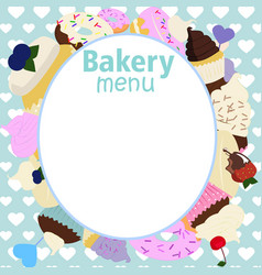 Menu design for cake house bakery vector