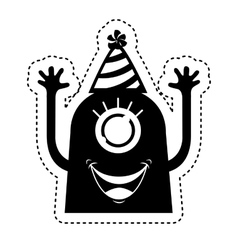 Monster comic character with party hat vector