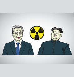 moon jae in vs kim jong un caricature portrait vector image vector image