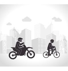 Motorcyclis and cyclist urban background vector