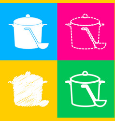 Pan with steam sign four styles of icon on four vector