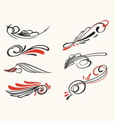 pinstriping ornament elements set vector image