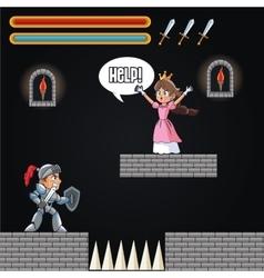 Princess warrior and videogame design vector