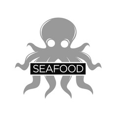 Seafood restaurant monochrome emblem with grey vector