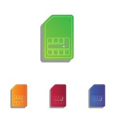 Sim card sign colorfull applique icons set vector