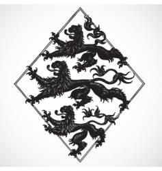 Three lions ornament vector