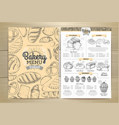 Vintage bakery menu design restaurant menu vector