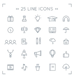 Web Community and Social Media Lined Icons vector image