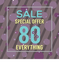 Special offer 80 percent on purple bubbles vector