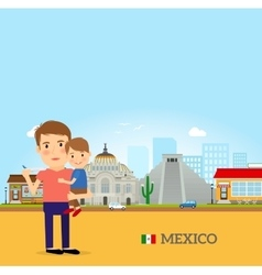 Father and child in mexico vector
