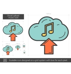 Cloud upload music line icon vector