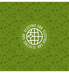 Electric car and ecology label and frame vector