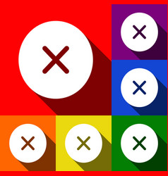 Cross sign   set of icons with vector