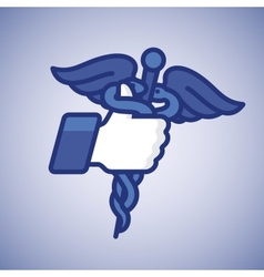 Thumbs up symbol icon with caduceus medical symbol vector