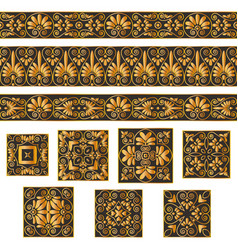 Set collections of old greek ornaments golden vector