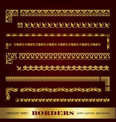 Golden calligraphic borders with corner elements vector
