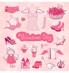 Set of female things for valentines day vector