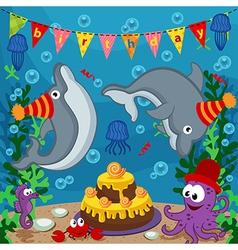 birthday marine animals vector image