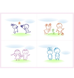 Cheerful and happy kids vector