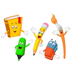 Cartoon collection of stationery vector
