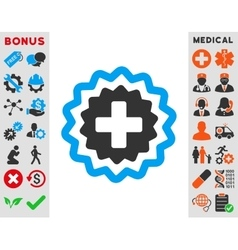 Medical cross stamp icon vector