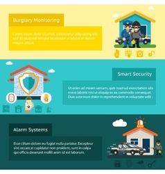 Home security system flat banners set vector