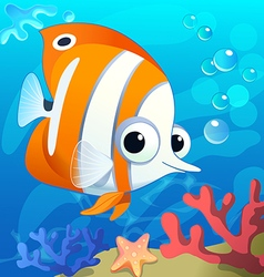 Cute butterfly fish in cartoon style underwater vector