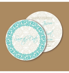 Round floral save the date vector
