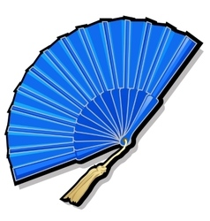 Classic oriental blue open fan vector